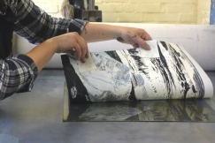 Pulling back an Emma Stibbon RA print at INK on PAPER PRESS