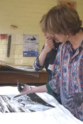 Emma Stibbon RA and Amy-Jane Blackhall at INK on PAPER PRESS