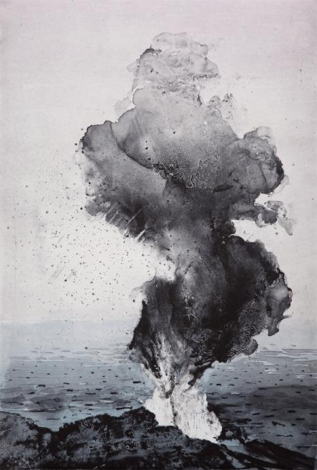 Emma Stibbon RA 'Stromboli Smoke', Intaglio & woodcut, 58 x 39cm